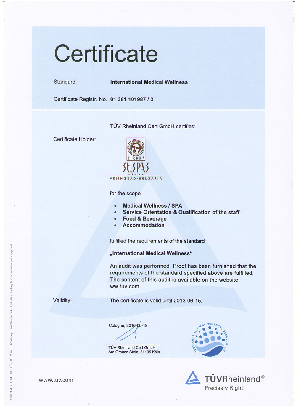 Guarantees for quality of the international association for balneology tv saint spas certificate xflitez Images